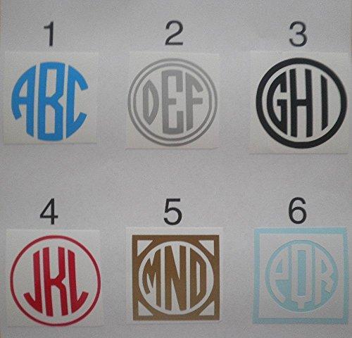 "3"" Circle Monogram Vinyl Decal Sticker Choose your Design Nu"