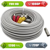 Tekvision 120 Feet (60Ft +60Ft ) Pre-Made All-in-One BNC Video Power Cable Security Camera Wire Cord For 1080P Camera Compatible with 960 720P 1080N And 1080P DVR Surveillance System