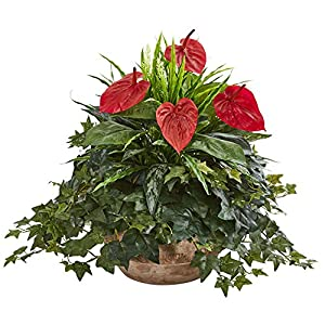 Nearly Natural 8135 Anthurium Artificial Terracotta Planter Silk Plants Red 50