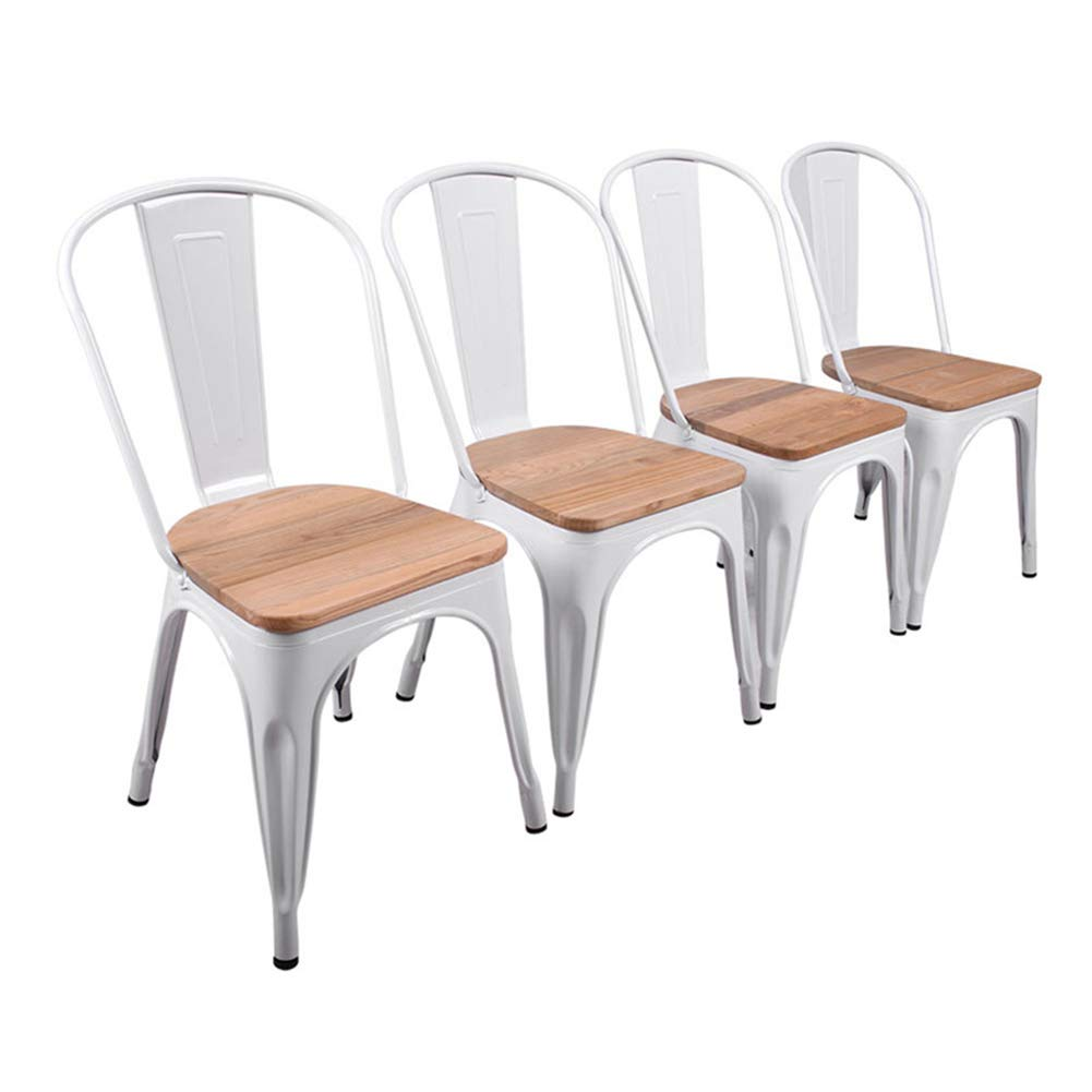 H JINHUI White Metal Chairs with Wood Seat Set of 4 Metal Dining Chairs for Indoor Outdoor Use Metal Side Chairs for Cafe Kitchen Farmhouse Patio Restaurant Stackable Metal Dining Room Chairs