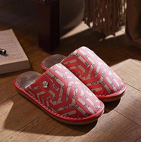 Ladies térmica Zapatillas Zapatillas de Casual de imitación de cuero, tamaño mediano, color rojo: Amazon.es: Deportes y aire libre