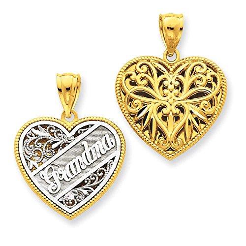 Reversible Grandma Heart Charm - 14k Two-tone Gold Reversible Grandma Heart Charm Pendant 23mmx18mm