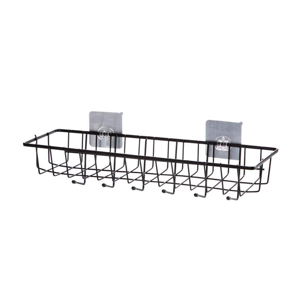 Storagc multifunzionale Storage rack Iron Wall Hanging cesto portaoggetti da cucina forniture punch-free portaspezie mensola in acciaio INOX gancio mensola