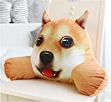 Skyseen 3D Dog Shaped Lumbar Support Backrest Pillow Waist Seat Back Cushion in Home Office School Car,E