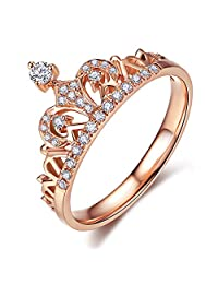UMODE Jewelry Tiara Exquisite Crown Shaped Clear Micro Cubic Zirconia Diamond Accented Fshion Ring