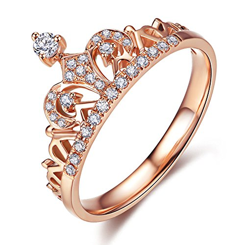 UMODE 18K Rose Gold Plated Clear Exquisite Princess Crown Tiara Design Tiny Cubic Zirconia CZ Diamond Accented Fashion Ring