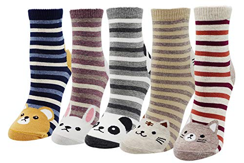 (Bienvenu 5 Pairs Cute Panda Cat Rabbit Animal Stripes Cotton Stretchy Casual Socks For Women Girls, Cat Panda Rabbit Set)