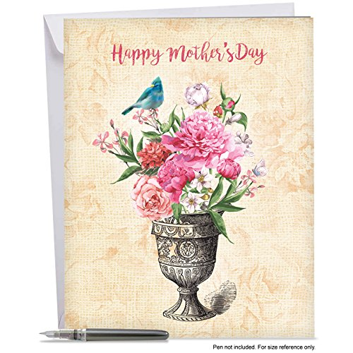Price comparison product image J6585HMDG Jumbo Mother's Day Card: BLOOMING URNS - Featuring Beautiful Watercolor Blooms and Birds Combined with Black and White Line Drawing of a Vase, With Envelope (Extra Large Version: