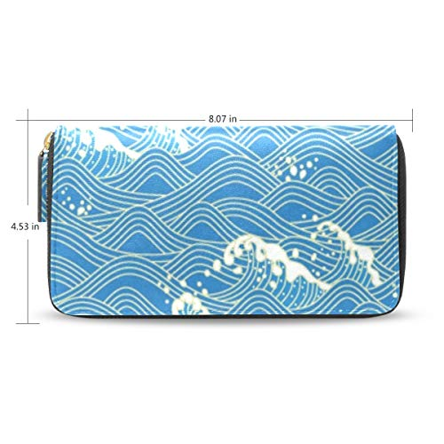 7dbec4c5fa6f Womens Wallets Japanese Style Decorative Waves Leather Passport Wallet Coin  Purse Girls Handbags
