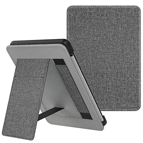 MoKo Case Fits Kindle Paperwhite (10th Generation, 2018 Releases), Lightweight PU Leather Cover Stand Shell with Hand Strap for Amazon Kindle Paperwhite 2018 E-Reader - Gray (1 Paperwhite)