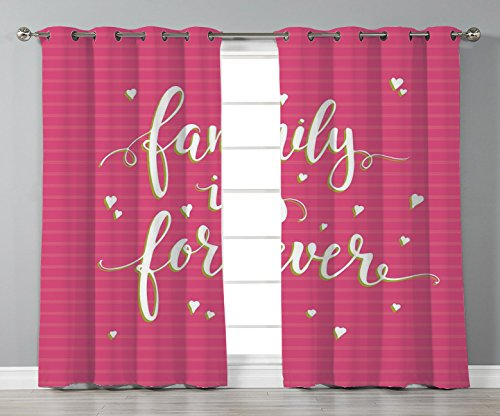 Thermal Insulated Blackout Grommet Window Curtains,Family,Hand Drawn Typography