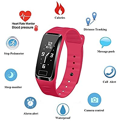 Blood Pressure Fitness Tracker - Homestec S4Plus Smart Watch with SPO2H Heart rate monitor Sleeping Management Pedometer with OLED Touch Screen for Android iOS, Military Time available