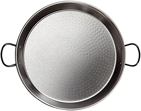 La Valenciana - Paella de Acero Pulido (34 cm, Apta para inducción, Asas de cerámica), Color Negro