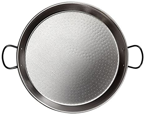La Valenciana 24 cm 18/10 Stainless Steel Restaurant Grade Paella Pan, Black 0324