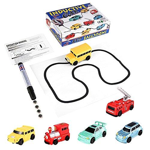 面白いマジックEnlightenペン描画おもちゃRailroad Inductive Trainsタンクおもちゃ車Draw Lines誘導レールトラック車キッズ