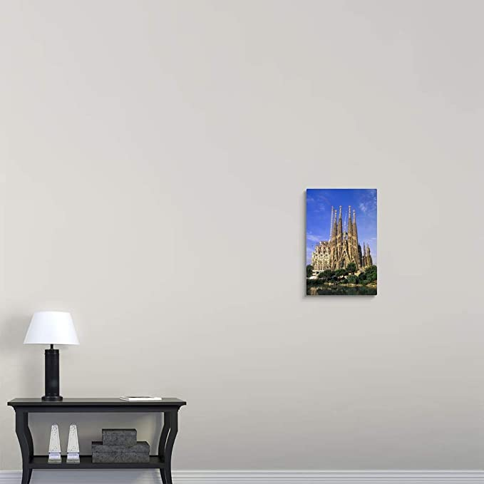 Spain, Barcelona. Sagrada Familia Cathedral, Designed by Antoni Gaudi Canvas Wall Art Print, 16.