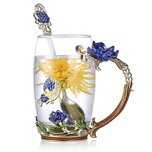 (Lilyss Tea Cups Coffee Mug with Spoon for Women Girls, Crystal Glass Rose Flower Design Handmade Enamel Beautiful Coffee Tea Cup Set - Gift for Mom Wife Girlfriend Sisters Coworker (Blue-Tall))