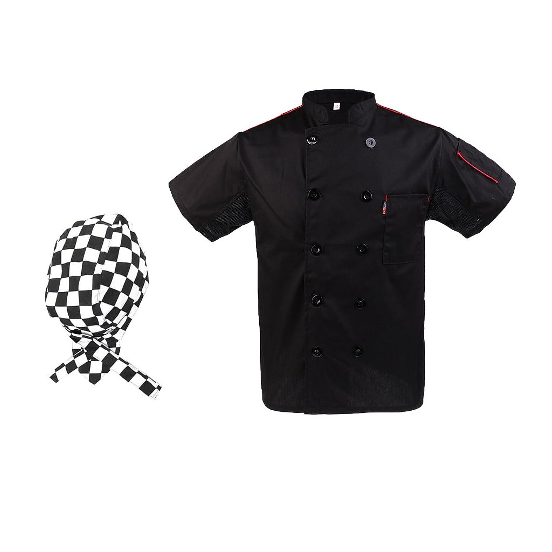 Sharplace Chamarra con Gorra de Cocinero Hombre Negro Uniformes Ropa Hotel Chef Cooks Sombrero Camarero PzGLUbp