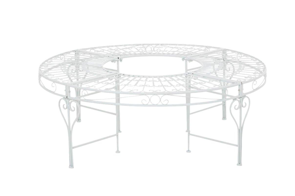 CLP 360° Metall Baum-Bank NYIMA ohne Lehne, rund Ø ca. 57 cm / 130 cm (innen/außen), Landhausstil, lackiertes Eisen, bis zu 6 Farben wählbar weiß