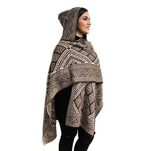 (Ruana Cape Pashmina Wraps Geometric Alpaca Wool Blend Made in Peru Brown Beige ds10)
