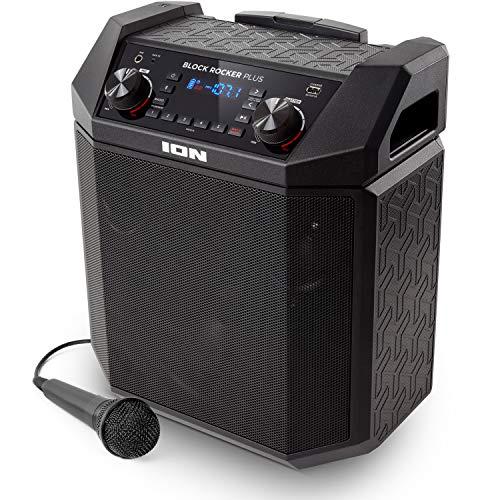 ION Audio Block Rocker Plus – Portable Bluetooth Speaker 100W W/Battery, Karaoke Microphone, AM FM Radio, Wheels…