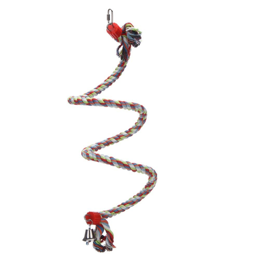 DETOP Parrot Spiral Cotton Rope Perch Bungee Bite Chew Toys Bird Cage Swing Climbing Stand Bar with Bells (large)