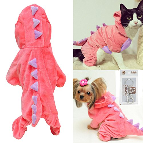 Pet Plush Outfit Dinosaur Costume with Hood for Small Dogs & Cats Jumpsuit Winter Coat Warm Clothes (Pink, Small)