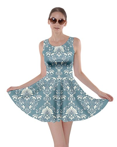 Dress Womens Light 5XL White Oriental Black Damask Floral Damask Mint Arabesque CowCow XS Skater w8qfdw