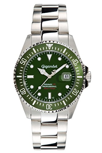 Gigandet Men's Automatic Pro Diver Watch Sea Ground Analog Stainless Steel 30atm Silver Green G2-008