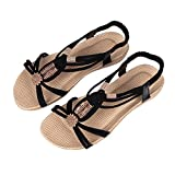 Women's Vintage Flat Sandal Summer Beach Peep Toe Strap Sandals H42