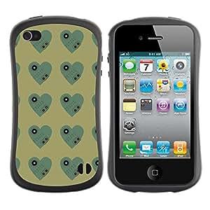ArtSpace Premium Hybrid Back Case Cover Apple iPhone 4 / 4S ( dark heart )