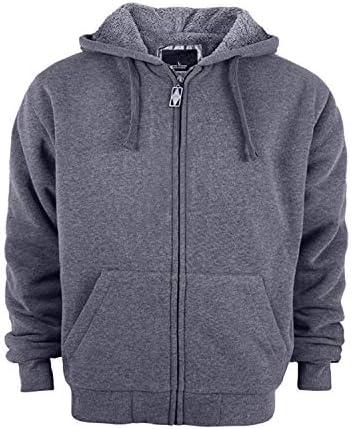 Mens Grey Hoodie Fleece American Zip Up Hoody Jacket Sweatshirt Zipper Top Hood