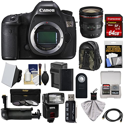 Cheap Canon EOS 5DS Digital SLR Camera Body with 24-70mm f/4L IS Lens + 64GB Card + Battery & Charger + Backpack + Grip + Flash + Kit