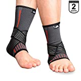 SupreGear 2-Pack Ankle Brace, Knitted Nylon Elastic Dual Straps Compression Foot and Ankle Brace Sprained Ankle Pain Relief Stabilizer Brace with Velco for Running/Jumping/Basketball (Black, M)