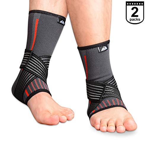 SupreGear 2-Pack Ankle Brace, Knitted Nylon Elastic Dual Straps Compression Foot and Ankle Brace Sprained Ankle Pain Relief Stabilizer Brace with Velco for Running/Jumping/Basketball (Black, L)