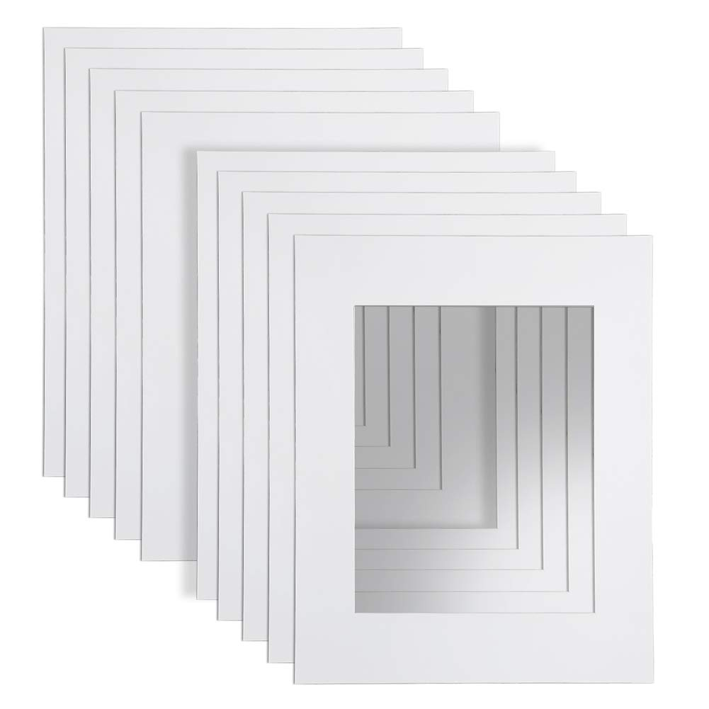 16x20'' White Picture Mats with Core Bevel Cut Frame Mattes for 11x14'' Pictures- Pack of 10
