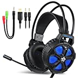 PS4 Gaming Headset, EasySMX COOL 2000 Over Ear Stereo Gaming Headphone with Mic and Volume Control, Y Splitter Cable, PC/MAC/NEW Xbox One/Smartphone/Nintendo Switch(Black and Blue)