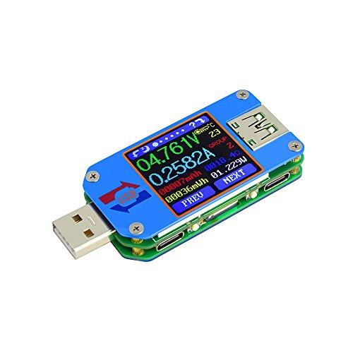- RD UM25/C USB 2.0 Type- C Color LCD Display Tester Digital Voltmeter Ammeter Usb Tester Current Voltage Meter Battery Charge Cable Impedance Resistance Measure Communication Version