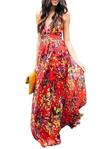 Mode Ca Sangle Femmes Imprimé Floral Dos Nu Profond Col V Robes Sexy Maxi Plage De Fleurs Rouge