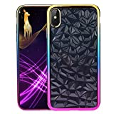 ac dc case iphone 5c - DEESEE(TM) New Luxury Diamond Texture Ultra Slim Silicone Clear Case Cove (For iPhone XS Max 6.5inch, Gold)