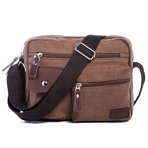 Side Cell (Men's Multifunctional Rough Canvas Messenger Outdoor Sports Walking Boating Bag Over Shoulder Crossbody Side Bag Briefcase Sling Bag Fanny Pack Cellphone Carrying Case with 1 Adjustable Strap -Brown)