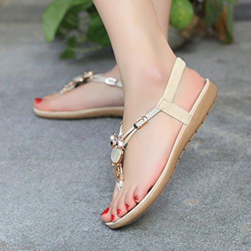 Sentao Mujer Sandalias Cuentas Embellecimiento Bohemio Estilo Zapatos Playa Sandalias Verano Beige