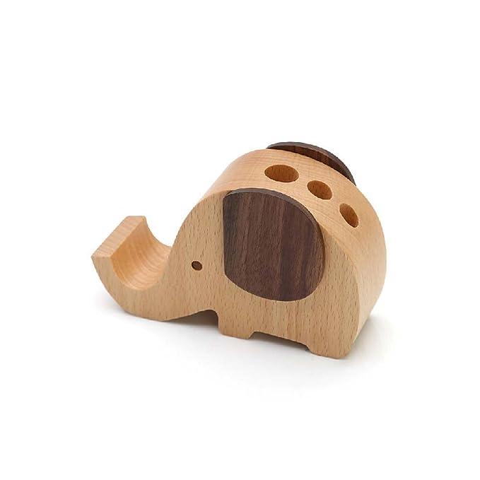 6e75b5e8e Amazon.com  Future Wood Elephant Pen Holder Container With Phone Holder Desk  Organizer (Wooden)  Home   Kitchen