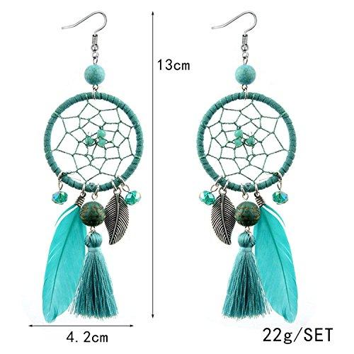 LeNG Fashion Ethnic Wind Wedding Jewelry Bohemian Crystal Beads Leaf Dream Catcher Cotton Tassel Earrings For Women,black by LeNG Earrings (Image #7)