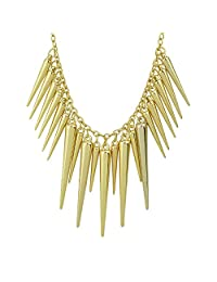 Feelontop@ Hot Sale Individual Punk Style Alloy Exaggerate Long Spike Necklace with Jewelry Pouch