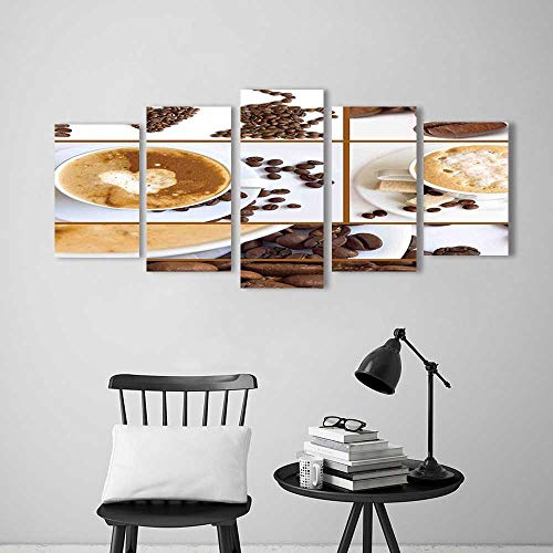 Wall Art for Living Room Decor 5 Piece Set Frameless Themed Collage of Beans Mugs Hot Foamy Drink with a Heart Macro Aroma for Home Modern Decoration Print Decor (Heart Foamies)