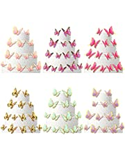 124 Pieces Butterfly Cake Toppers Butterfly Cupcake Toppers Party Cake Decorations for Birthday Party, Baby Shower, Wedding, Various Styles