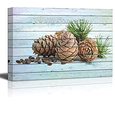 Made With Top Quality, Charming Artistry, Pine Cones and Seeds Over Blue Wood Panels