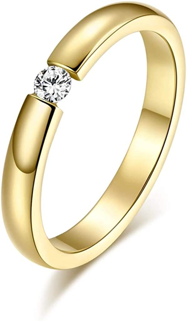 DARLING HER Engagement Ring for Women Stainless Steel Silver Gold Color Finger Girl Gift US Size 5 6 7 8 9 10