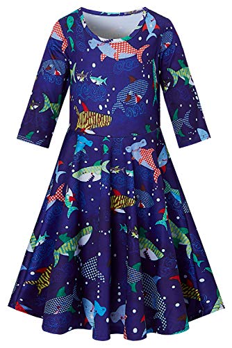 Shark Dress for Preteen Girls Goldfish Sea Cartoon Printed Autumn Outside Play Dresses Chic Colourful Sea Street Casucal Frocks Clothes 10-13 Years Old